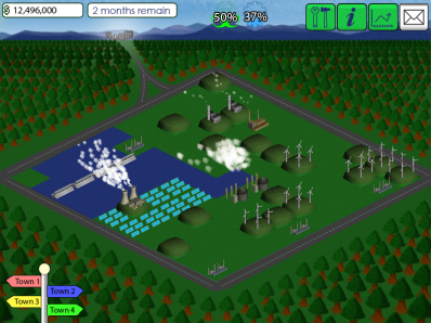 A fully built energy production facility, towards the end of the game.
